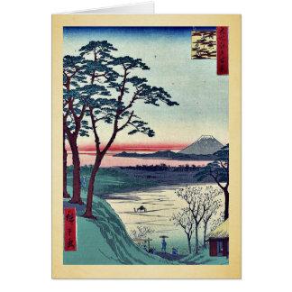 Cartão O teahouse do avô, Meguro por Andō, Hiroshige