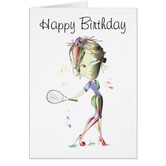 Cartão O tênis no estilete vermelho calça a arte