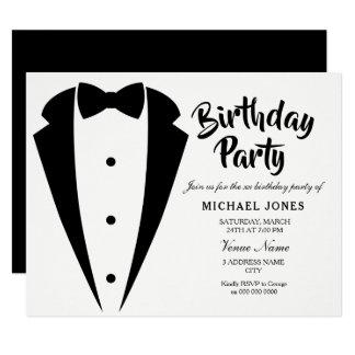 Cartão O terno & a festa de aniversário sofisticada laço