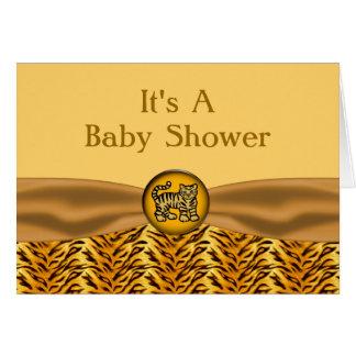 Cartão O tigre de bebê bonito listra o chá de fraldas