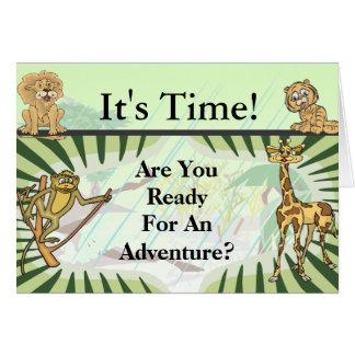 Cartão O tigre listra o safari do chá de fraldas da selva