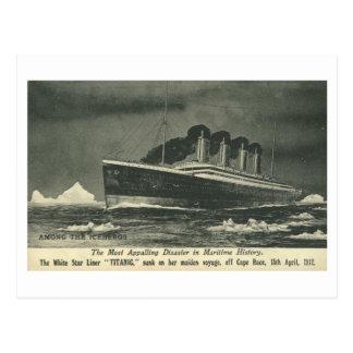"""Cartão O TITÂNICO """"entre os iceberg"""" em 1912"""