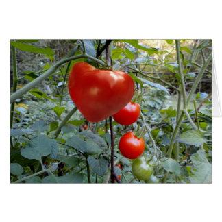 """Cartão O tomate dado forma coração """"ESCOLHE-ME! """""""