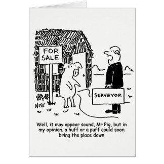 Cartão O topógrafo dá a porco sua avaliação de uma