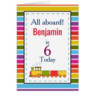 Cartão O trem personalizou todo o aniversário da idade