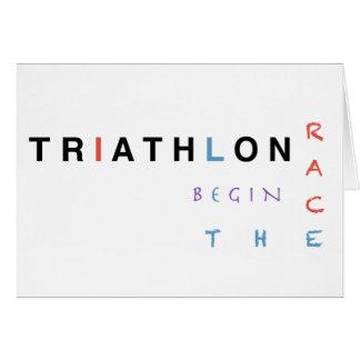 Cartão O Triathlon deixou a raça começar