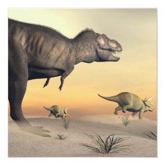 Cartão O Triceratops que escapa dos tiranossauros 3D