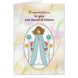 Cartão O último tratamento de Chemo, menina floresce
