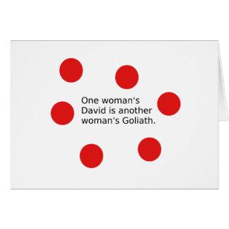 Cartão O um David da mulher é o Goliath de uma outra