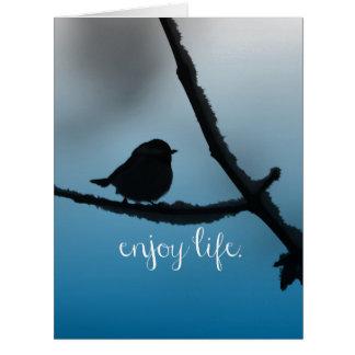 Cartão O único pássaro no ramo com aprecia citações da