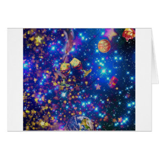 Cartão O universo e os planetas comemoram a vida com um