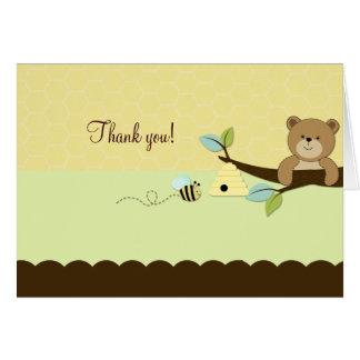 Cartão O URSO & a ABELHA de MEL dobraram o obrigado que