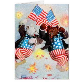 Cartão O urso do patriota comemora o quarto de julho