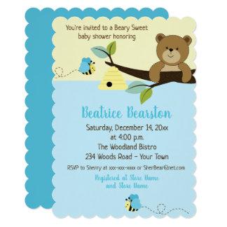 Cartão O urso e o menino de mel Bumble a abelha que o chá
