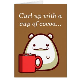 """Cartão O urso polar """"ondula acima com um copo do cacau…"""""""