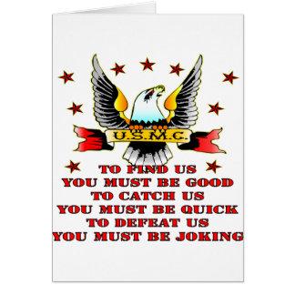 Cartão O USMC encontra que nós para nos travar nos