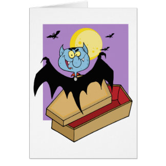 Cartão O vampiro fora do caixão e os bastões aproximam