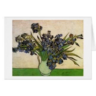 Cartão O vaso com violeta torna iridescentes belas artes