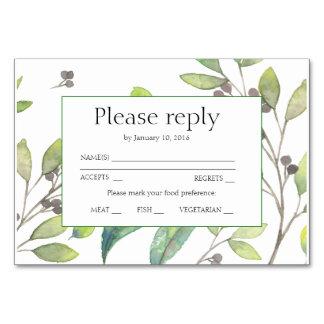 Cartão O verde deixa o rsvp do convite do casamento