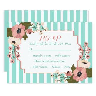 Cartão O verde floral da hortelã de RSVP listra flores
