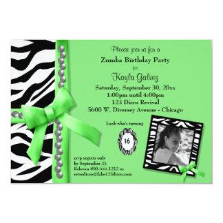 Cartão O verde limão e a festa de aniversário listrada