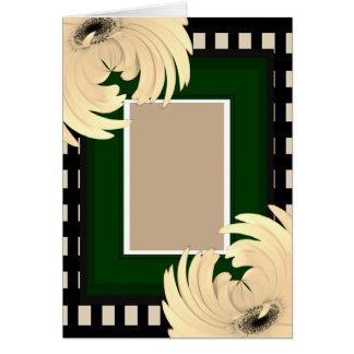 Cartão O verde verifica margaridas do Sepia do acento