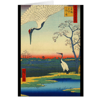Cartão O vermelho coroado Cranes 1857