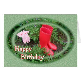 Cartão O vermelho de jardinagem carreg o aniversário ou a