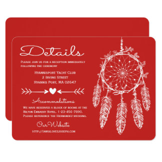 Cartão O vermelho detalha o casamento do nativo americano