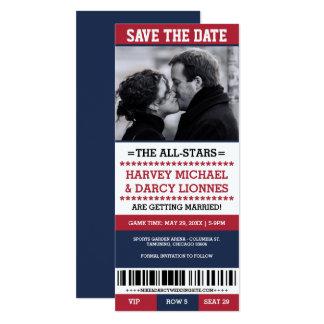 Cartão O vermelho e o bilhete dos esportes do marinho
