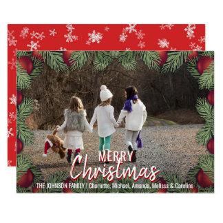 Cartão O vermelho Ornaments a FOTO da família | do
