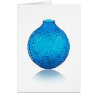 Cartão O vidro azul do art deco gravou o vaso.