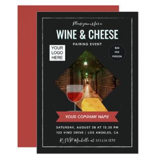 Cartão O vinho e o queijo que emparelham o evento