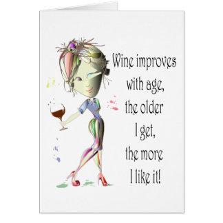 Cartão O vinho melhora com idade, presentes cómicos do