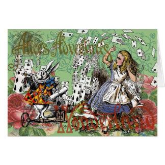Cartão O vintage Alice no país das maravilhas carda o tea