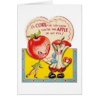 Cartão O vintage Apple de meu dia dos namorados do olho