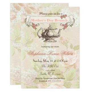 Cartão o vintage cora tea party floral da refeição