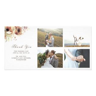 Cartão O vintage da aguarela floresce o casamento outono
