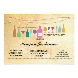 Cartão O vintage das bebidas dos cocktail da festa de