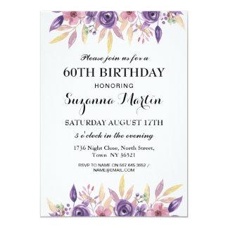 Cartão O vintage floral da 60th lavanda do aniversário