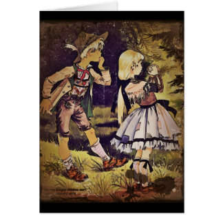 Cartão O vintage Hansel e Gretel considera a casa de