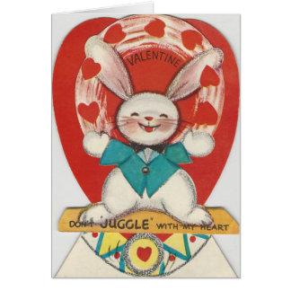 Cartão O vintage manipula namorados do coelho