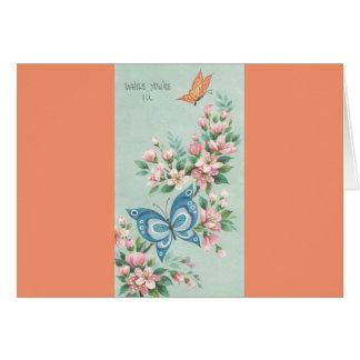 Cartão O vintage obtem bem com borboletas