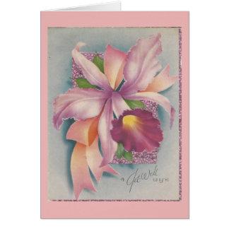 Cartão O vintage obtem bem com orquídea
