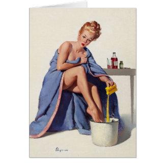 Cartão O vintage obtem logo a arte boa da menina do Pinup
