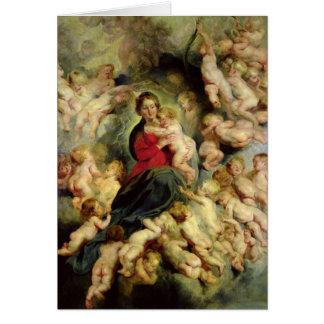Cartão O Virgin e a criança cercados