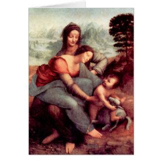 Cartão O Virgin e a criança com St Anne