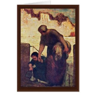 Cartão O Washerwoman por Daumier Honoré