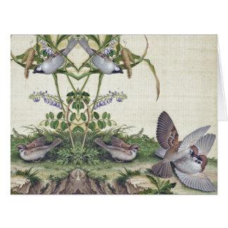 Cartão O Wildflower asiático do habitat dos pássaros