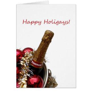 Cartão O x-mas alegre feliz de Holigays carda o champanhe